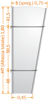Dati tecnici pensilina newentry con Kit Vela paravento